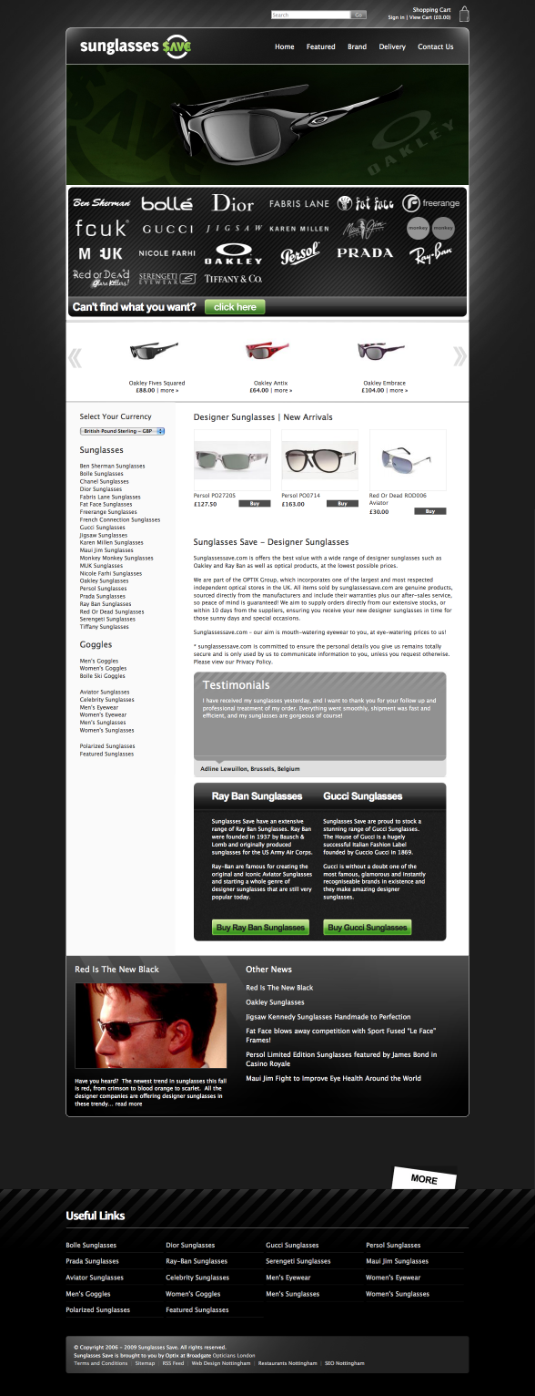 Sunglasses Save | Web Design