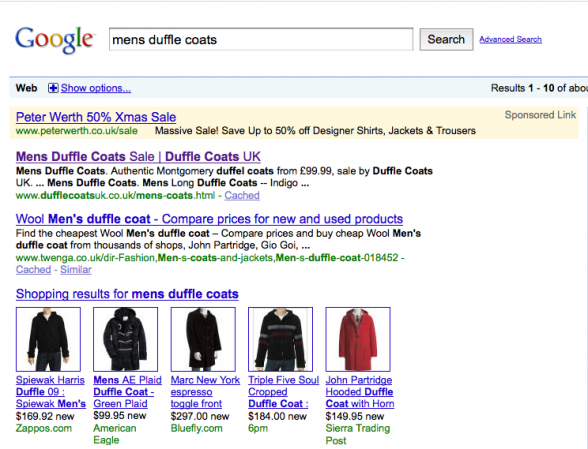 mens duffle coats | web design