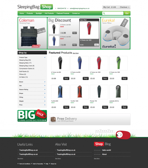 Sleeping Bags Shop | Web Design