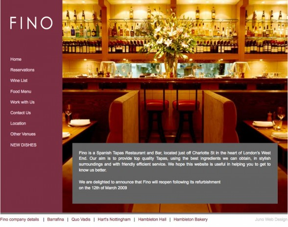 Web Design | Fino Restaurant