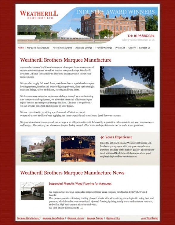 Web Design - Weatherill Brothers Marquee Manufacture