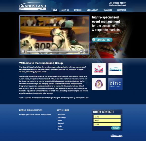 Grandstand Group | Web Design