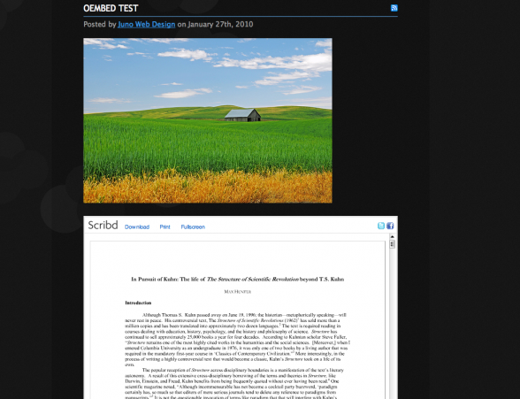 embedded flickr and scribd content in wordpress using oembed